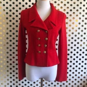 ST JOHN Red Peplum Double Breasted Jacket